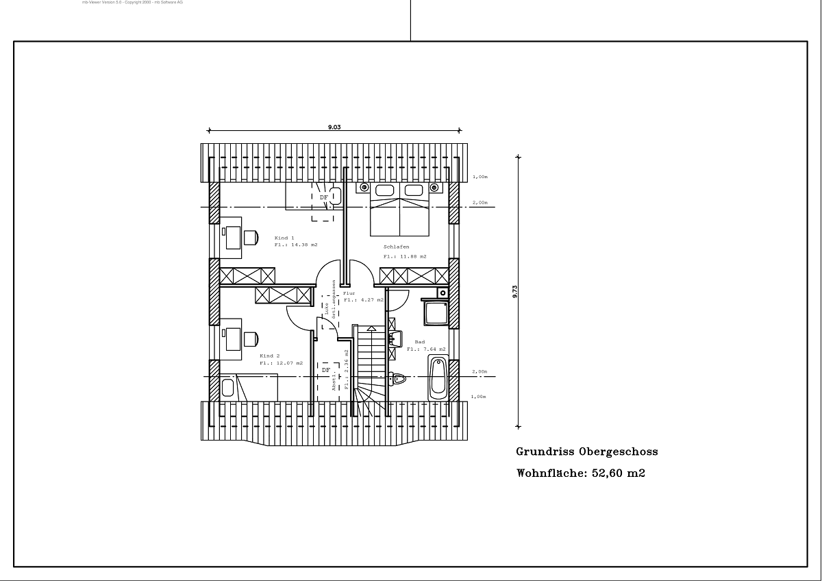 1,5 Geschoss - Grundriss DG 117,29m²