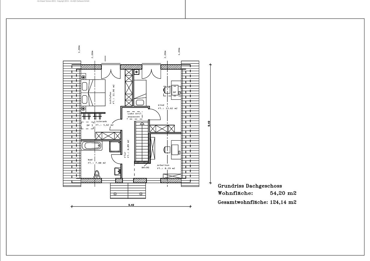 1,5 Geschoss - Grundriss DG 124,14m²