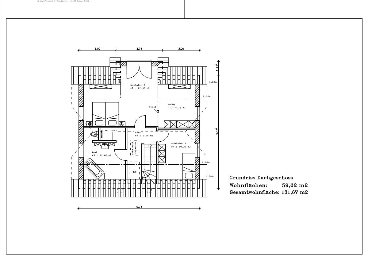 1,5 Geschoss - Grundriss DG 131,67m²