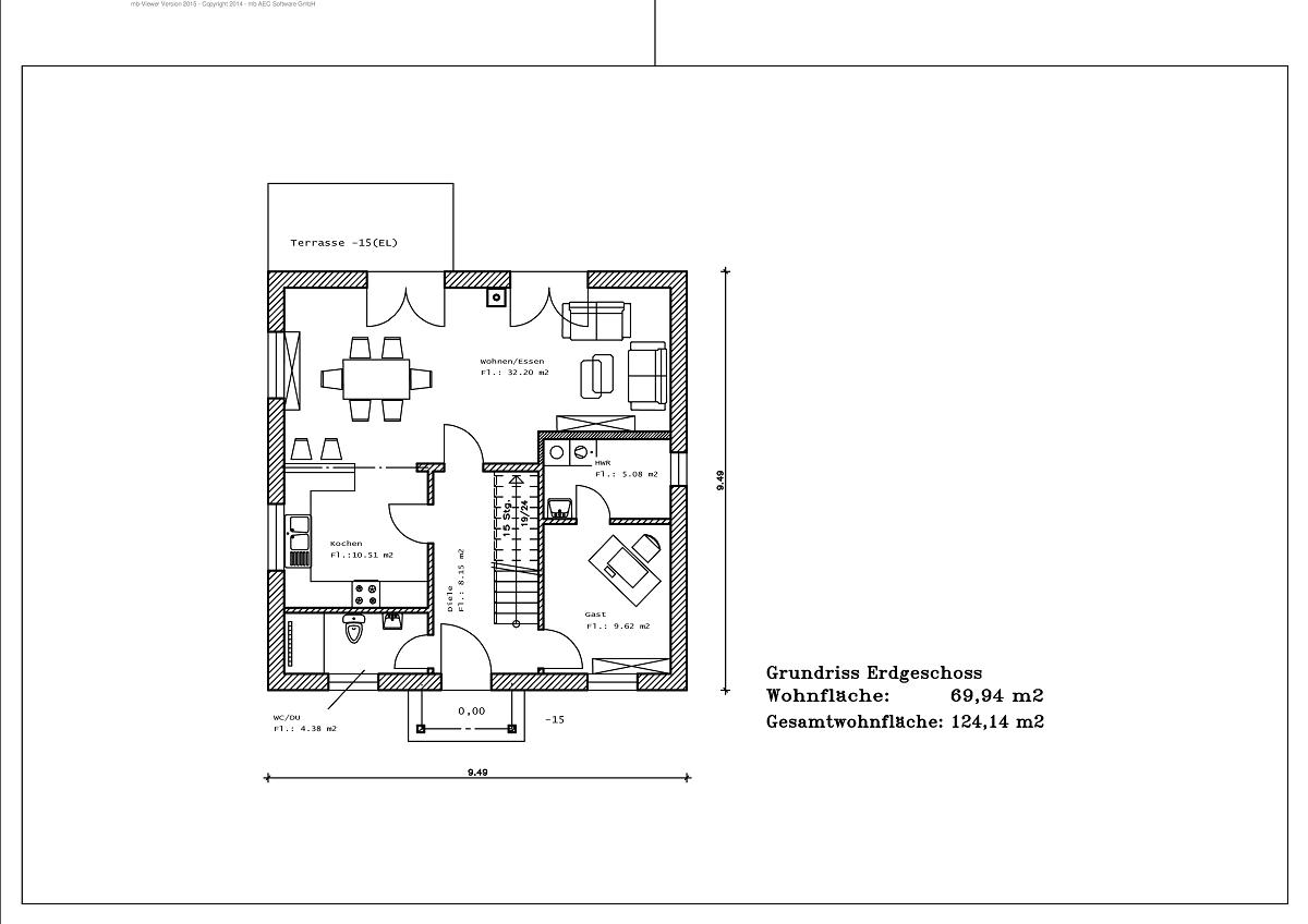 1,5 Geschoss - Grundriss EG 124,14m²