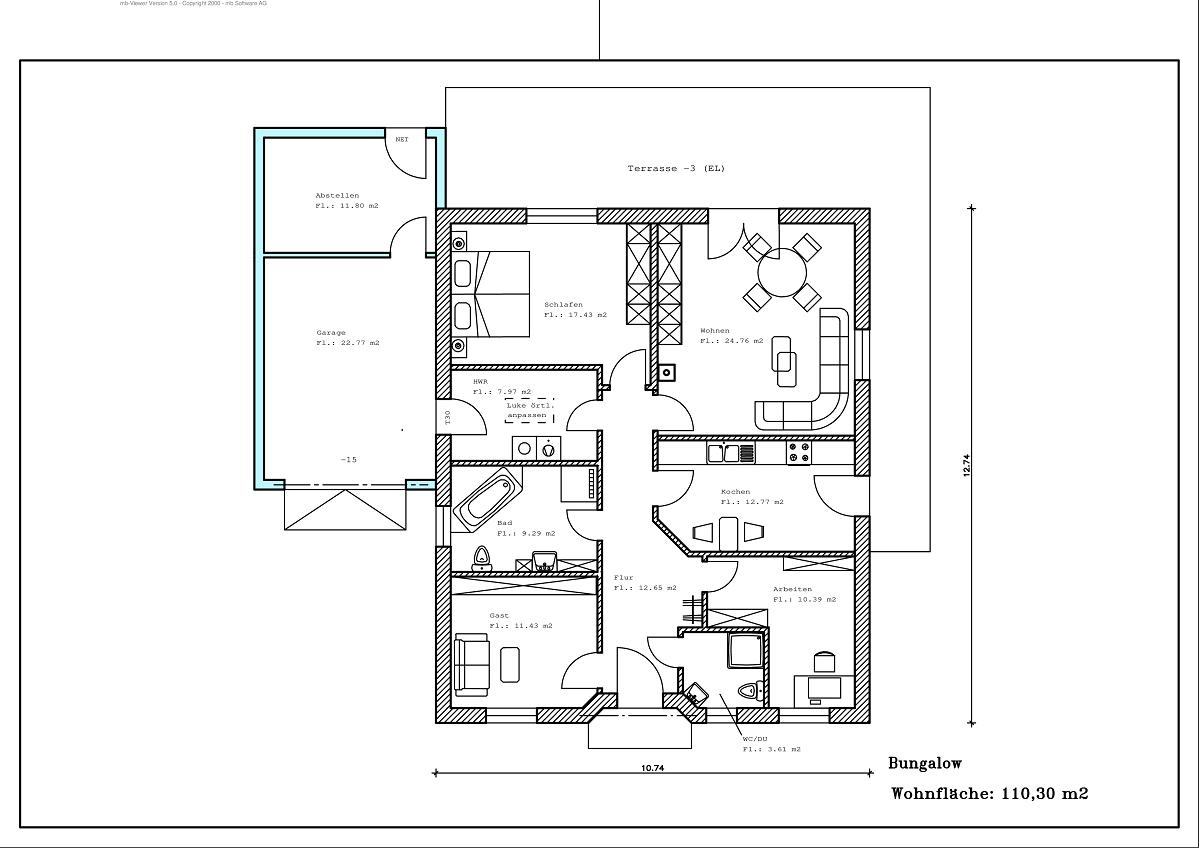 Bungalow - Grundriss 110,30m²