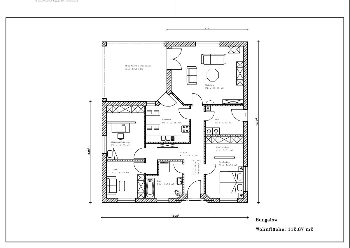 Bungalow - Grundriss 112,87m²