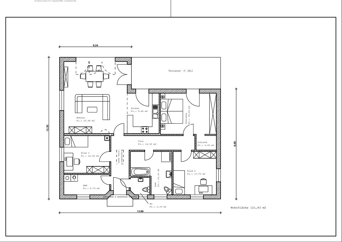 Bungalow - Grundriss 121,83m²