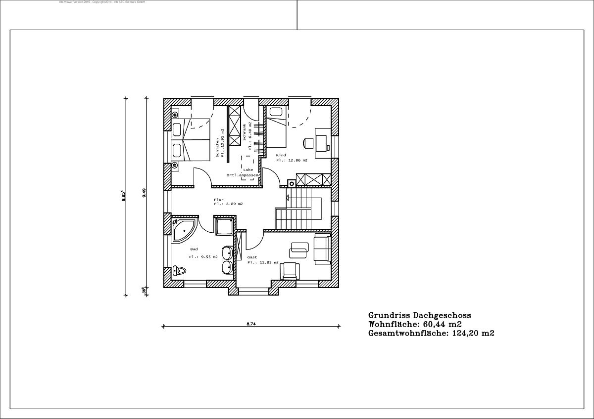 Stadtvilla - Grundriss DG 124,20m²