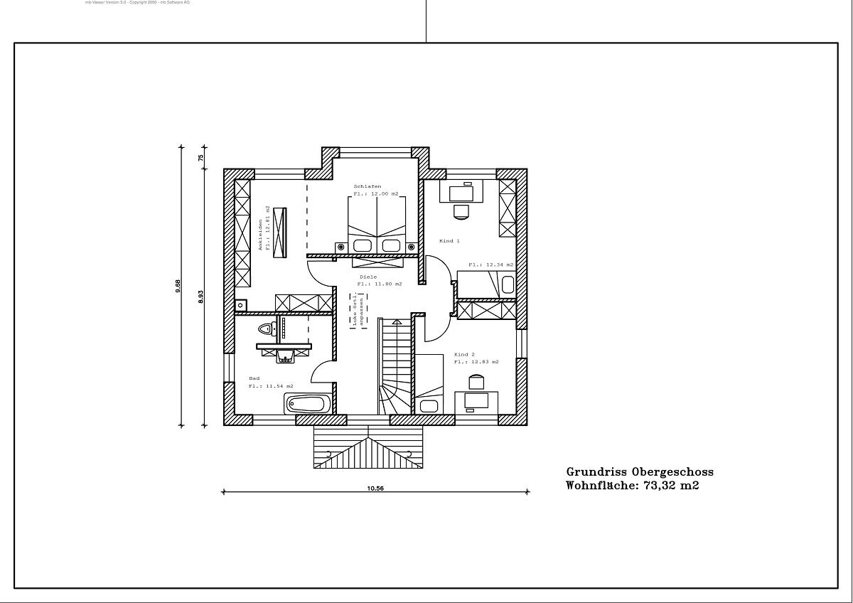 Stadtvilla - Grundriss DG 147,14m²