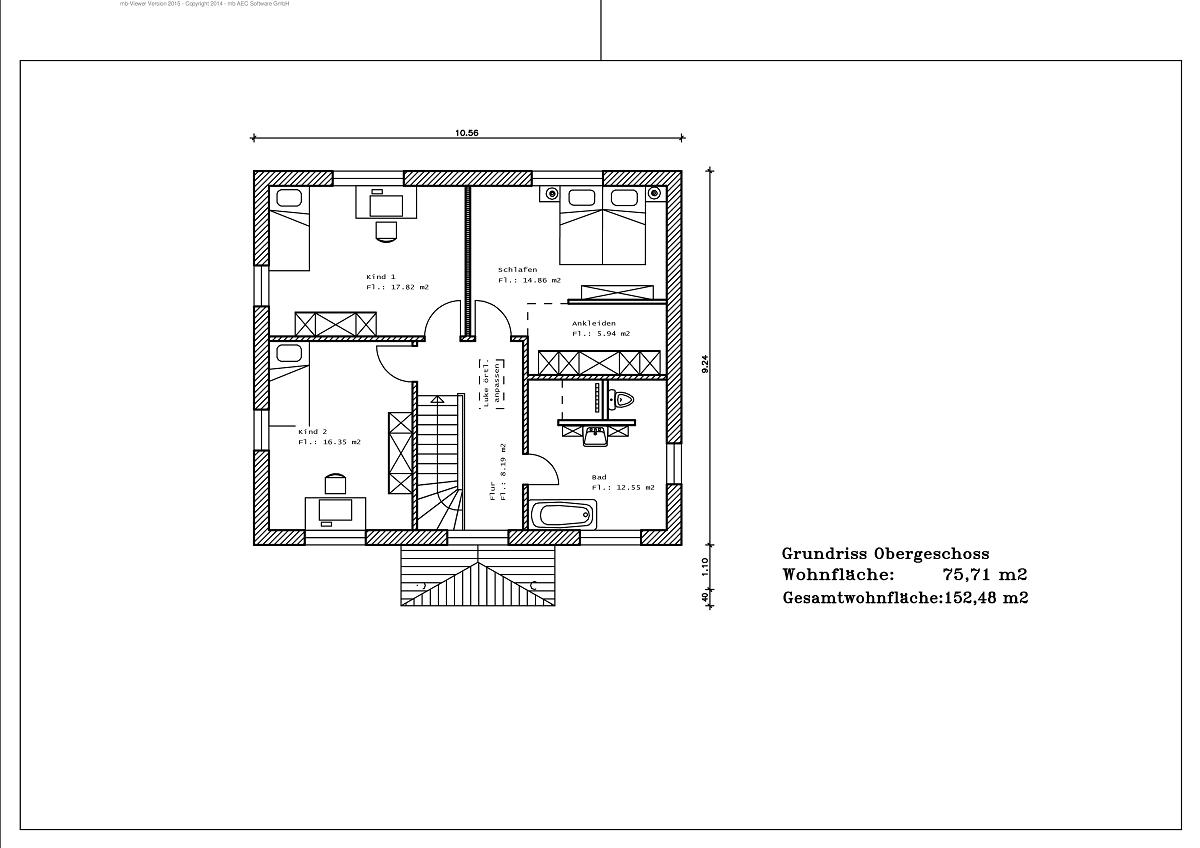 Stadtvilla - Grundriss DG 152,48m²