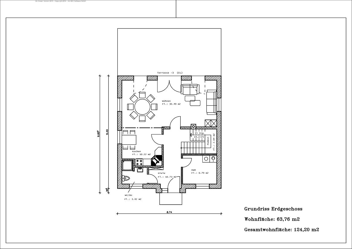 Stadtvilla - Grundriss EG 124,20m²